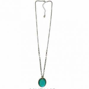Collar Tropic art largo medallón verde