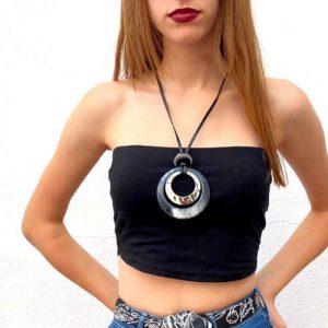 Collar Tropic Art Largo Plateado Ajustable