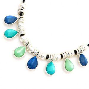 Collar Tropic art de rodio en tonos azules