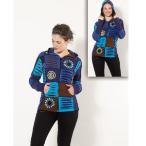 Chaqueta capucha patchwork azul Zagora moda