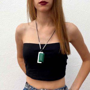 Collar Tropic Art Largo Con Cordón De Cuero