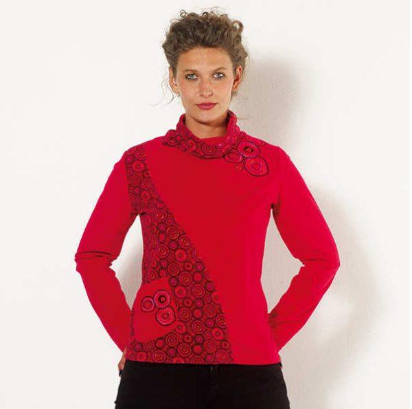 Jersey terciopelo Coline rojo Zagora moda