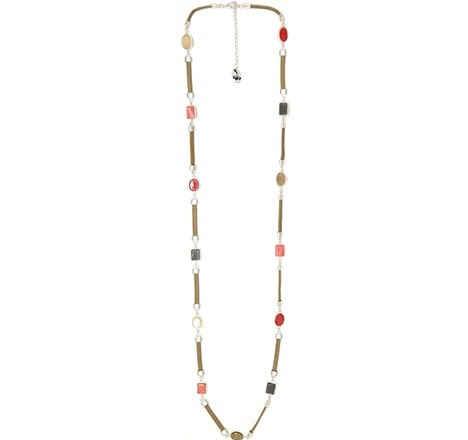 Collar Tropic art largo cuero y piedras