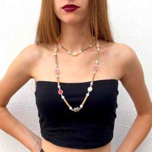 Collar Tropic Art Piel Metal y Piezas De Resina