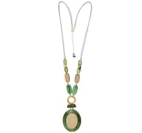 Collar Tropic art largo medallon verde