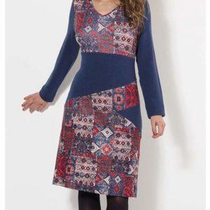 Vestido Coline malla estampado índio