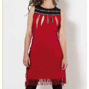 Vestido Coline flecos rojo sin manga