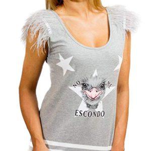 Camiseta Animosa negra avestruz y flecos