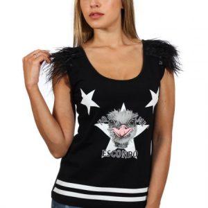 Camiseta Animosa avestruz plumas