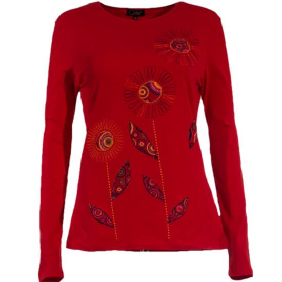 Camiseta Coline estampado de hojas bordado. Tiene un 5% de licra y algodón. Tejido natural transpirable muy cómoda.