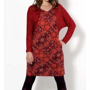 Vestido Coline Rojo Estampado Mangas Lisas