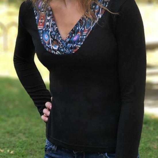 Camiseta Coline cuello pico estampada