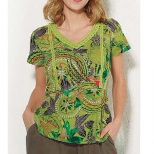 Blusa Coline algodón estampado tonos verdes.