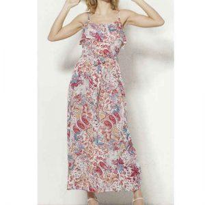 Vestido Coline Largo Viscosa Estampado Romántico