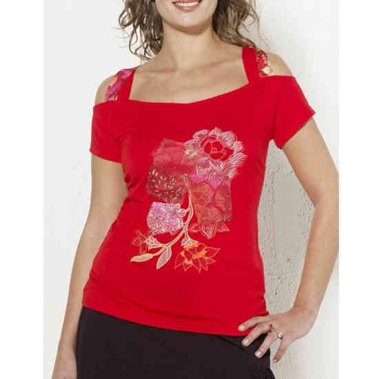 Camiseta Coline Patchwork Hombro Al Aire