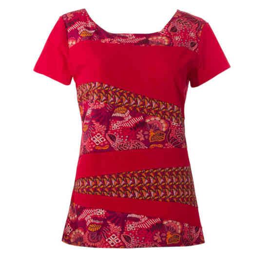 Camiseta Coline Algodon Roja Patchwork