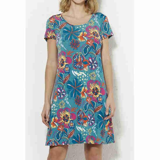 Vestido Coline Elástico Estampado Flores Manga Corta