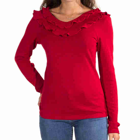 Camiseta Coline Cuello Volantes Lisa