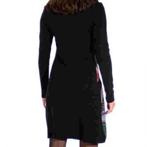 Vestido Coline Estampado Asimétrico Fondo Negro