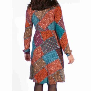 Vestido Coline Estampado Mosaico Y Botones
