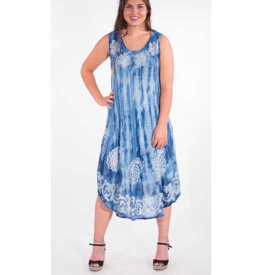 Vestido Coline Viscosa Estampado Hippie Tonos Azules