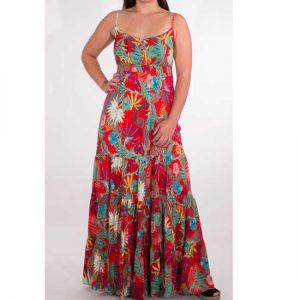 Vestido Coline Multicolor Largo Viscosa Tirantes Estampado