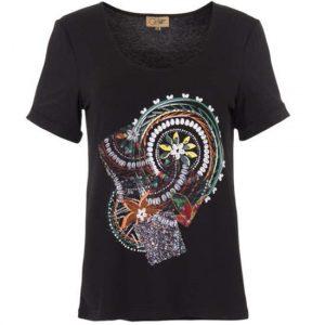 Camiseta Coline Viscosa Elastano Mangas Cortas Patchs