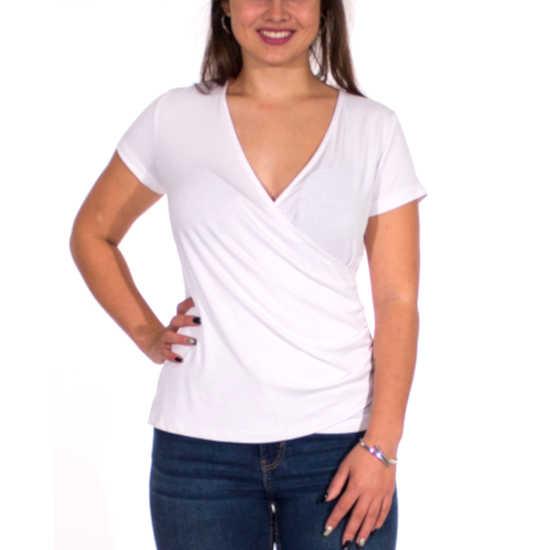 Camiseta Coline Cruzada Negra Elástica Lisa