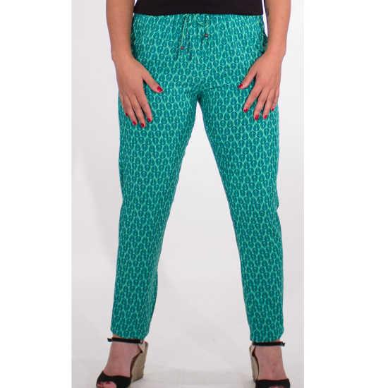 Pantalon Coline Viscosa Verde Estampado Cintura Elástica