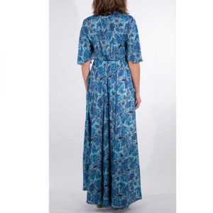 Vestido Coline Azul Largo Sari Manga Al Codo