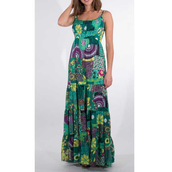 Vestido Coline Largo Viscosa Estampado Tonos Verdes