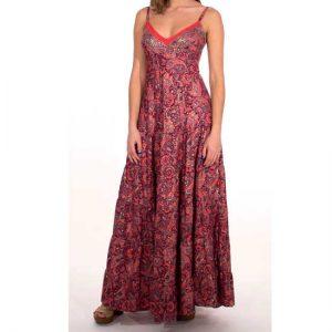 Vestido Coline Coral Sari Largo Tirantes