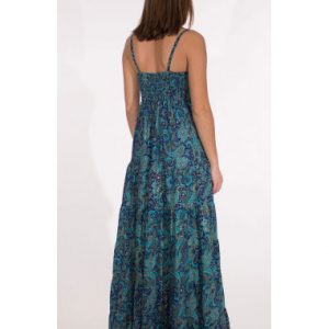 Vestido Coline Sari Dorado Largo Tirantes