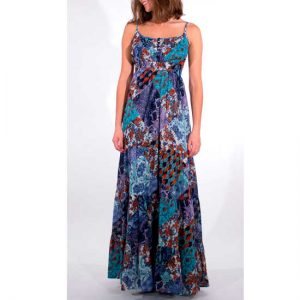 Vestido Coline Azul Algodón Con Volantes Y Tirante Fino