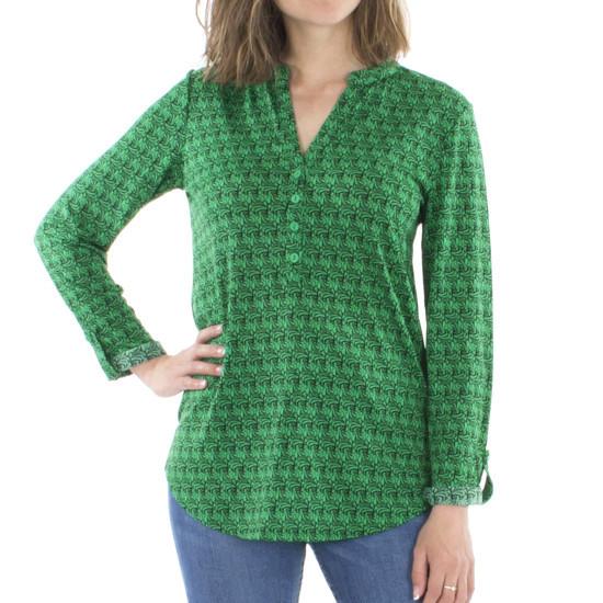 Blusa Coline Verde Abotonada Con Elastano Estampada