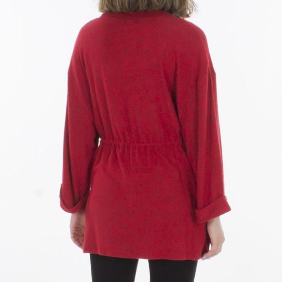Jersey Coline Rojo Viscosa Fruncido Cintura Con Elastano