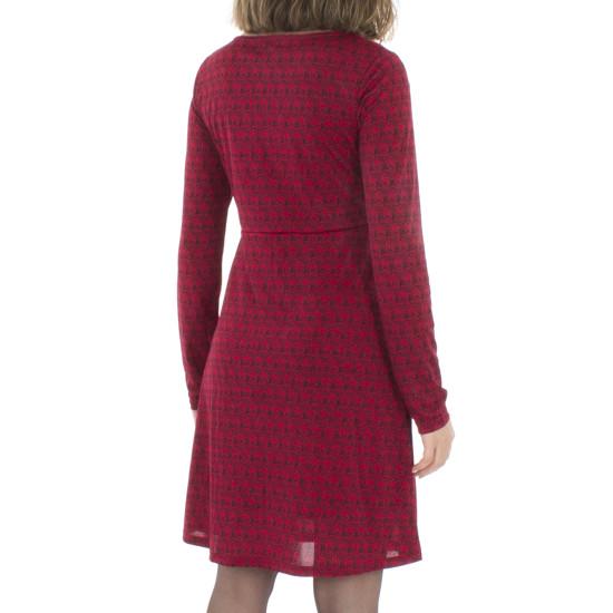 Vestido Coline Rojo Estampado Con Elastano Mangas Largas