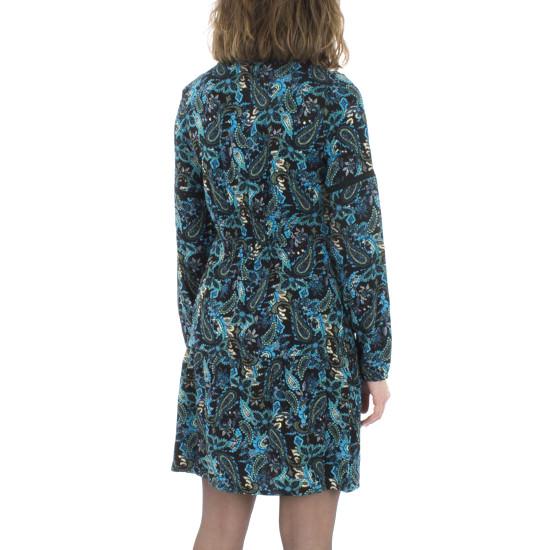 Vestido Coline Viscosa Estampado Azul Con Hilo Dorado